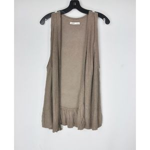 Gap Brown Gray Sweater Vest Linen Cardigan Top